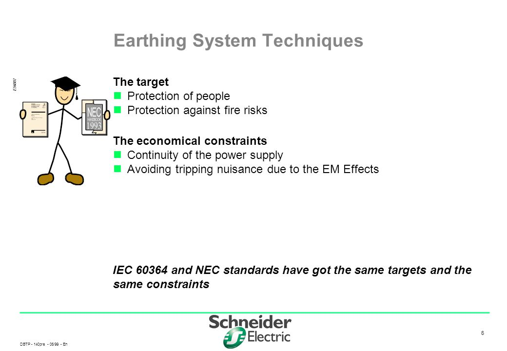 DBTP - 140pre - 06/99 - En 6 6 Earthing System Techniques The target Protection of people Protection against fire risks The economical constraints Con