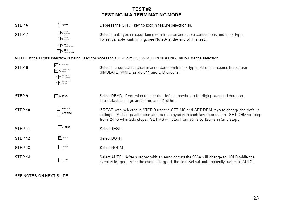 24 TEST #2 TESTING IN A TERMINATING MODE First go to Feature Select.