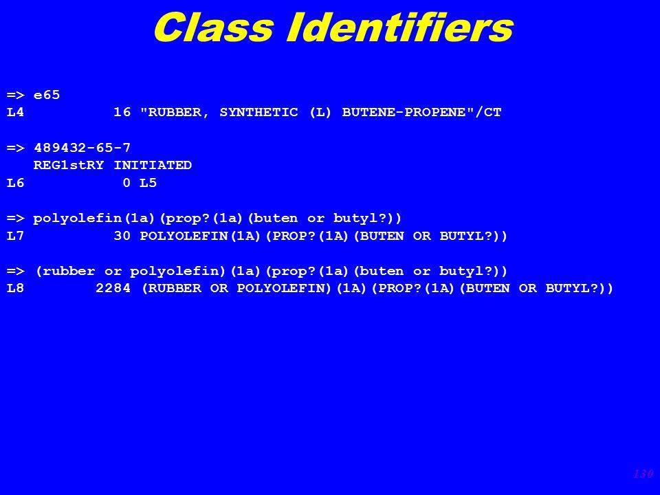 130 Class Identifiers => e65 L4 16 RUBBER, SYNTHETIC (L) BUTENE-PROPENE /CT => 489432-65-7 REG1stRY INITIATED L6 0 L5 => polyolefin(1a)(prop?(1a)(buten or butyl?)) L7 30 POLYOLEFIN(1A)(PROP?(1A)(BUTEN OR BUTYL?)) => (rubber or polyolefin)(1a)(prop?(1a)(buten or butyl?)) L8 2284 (RUBBER OR POLYOLEFIN)(1A)(PROP?(1A)(BUTEN OR BUTYL?))