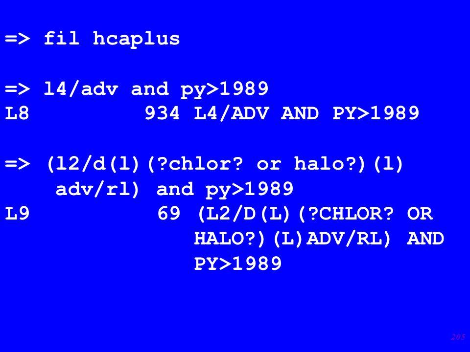 205 => fil hcaplus => l4/adv and py>1989 L8 934 L4/ADV AND PY>1989 => (l2/d(l)(?chlor.
