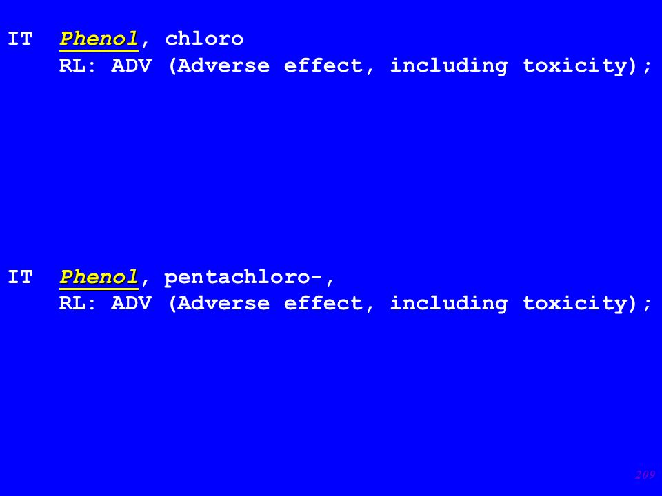 209 Phenol IT Phenol, chloro RL: ADV (Adverse effect, including toxicity); Phenol IT Phenol, pentachloro-, RL: ADV (Adverse effect, including toxicity);