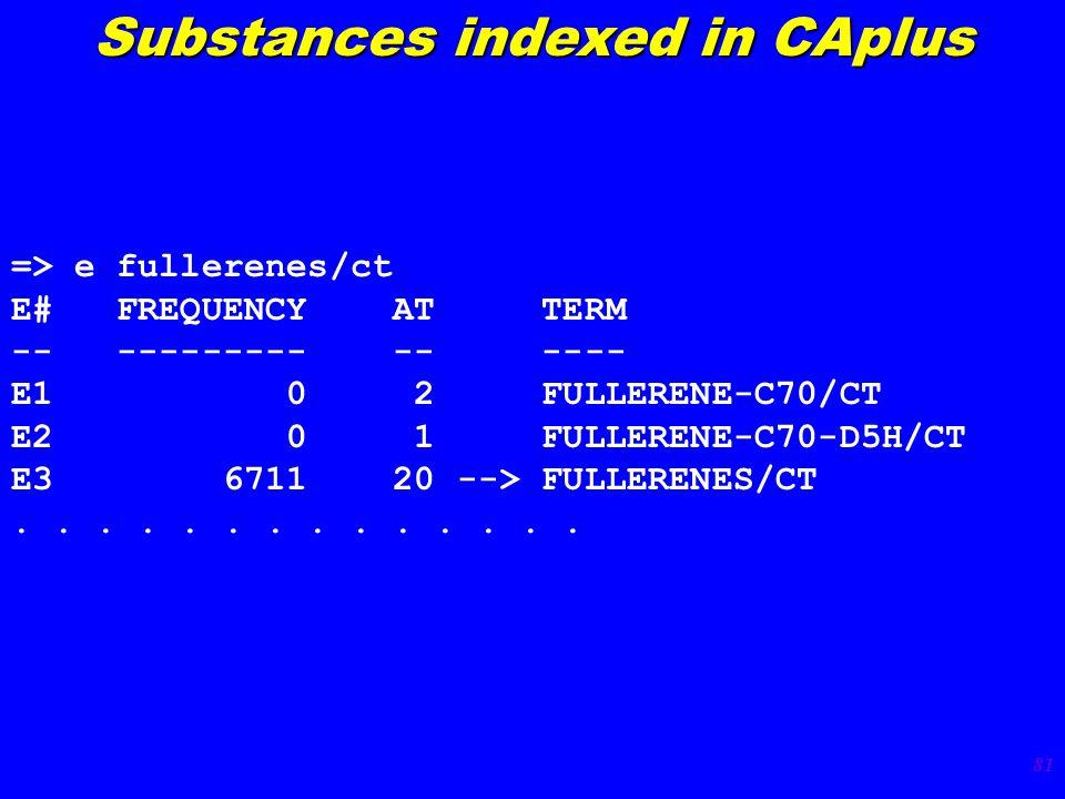81 => e fullerenes/ct E# FREQUENCY AT TERM -- --------- -- ---- E1 0 2 FULLERENE-C70/CT E2 0 1 FULLERENE-C70-D5H/CT E3 6711 20 --> FULLERENES/CT.......