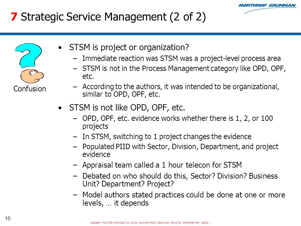 HEADER / FOOTER INFORMATION (SUCH AS NORTHROP GRUMMAN PRIVATE / PROPRIETARY LEVEL I) 15 7 Strategic Service Management (2 of 2) STSM is project or organization.