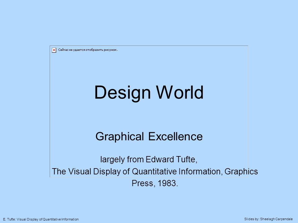 Slides by: Sheelagh Carpendale E. Tufte: Visual Display of Quantitative Information Design World Graphical Excellence largely from Edward Tufte, The V