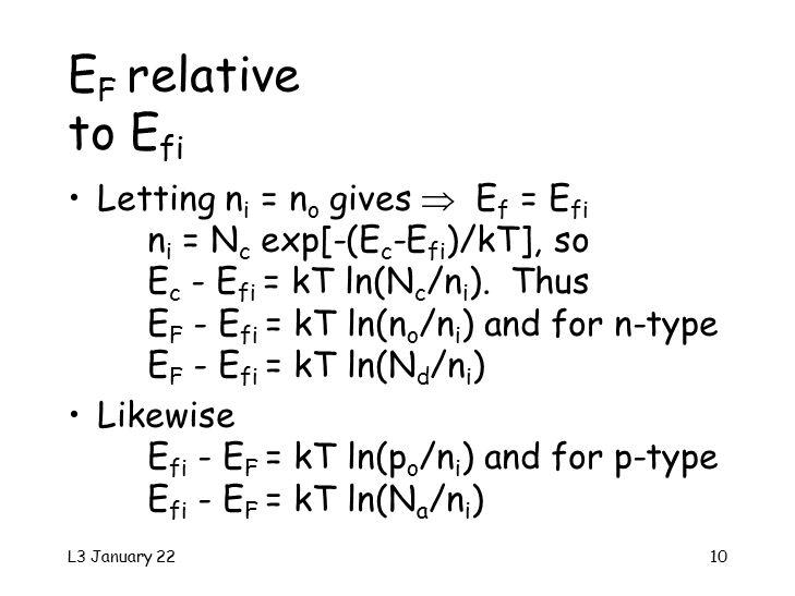 L3 January 2210 E F relative to E fi Letting n i = n o gives  E f = E fi n i = N c exp[-(E c -E fi )/kT], so E c - E fi = kT ln(N c /n i ).