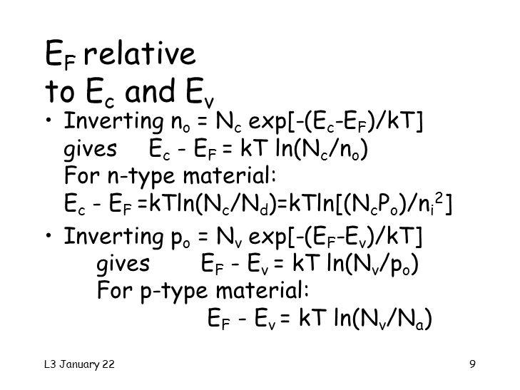 L3 January 229 E F relative to E c and E v Inverting n o = N c exp[-(E c -E F )/kT] gives E c - E F = kT ln(N c /n o ) For n-type material: E c - E F =kTln(N c /N d )=kTln[(N c P o )/n i 2 ] Inverting p o = N v exp[-(E F -E v )/kT] givesE F - E v = kT ln(N v /p o ) For p-type material: E F - E v = kT ln(N v /N a )