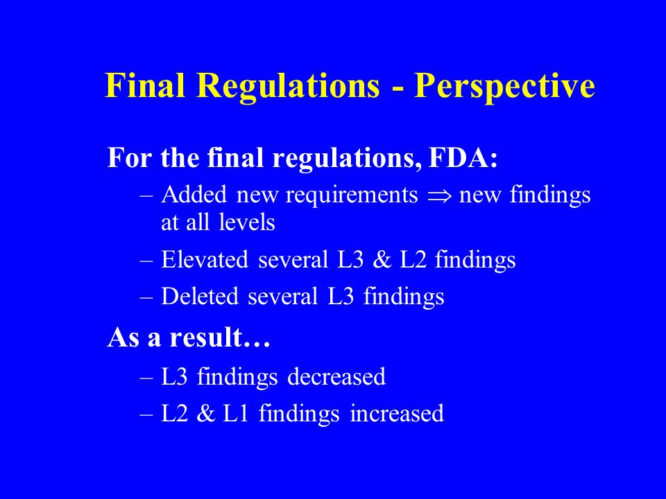 Final Regulations - Perspective For the final regulations, FDA: –Added new requirements  new findings at all levels –Elevated several L3 & L2 findings –Deleted several L3 findings As a result… –L3 findings decreased –L2 & L1 findings increased