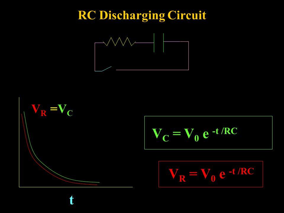 RC Charging Circuit V C = V 0 (1 - e -t /RC ) V R = V 0 e -t /RC V0V0 VRVR t VCVC
