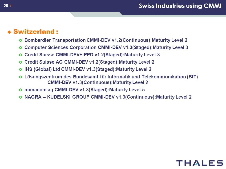 25 / Swiss Industries using CMMI  Switzerland :  Bombardier Transportation CMMI-DEV v1.2(Continuous):Maturity Level 2  Computer Sciences Corporatio