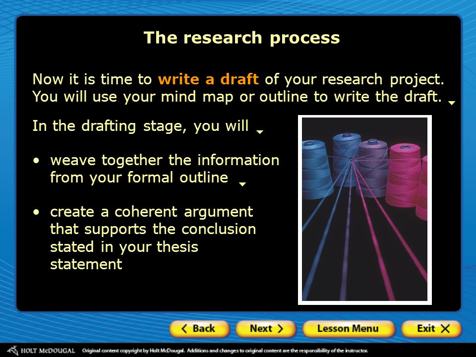 The research process Now it is time to write a draft of your research project. You will use your mind map or outline to write the draft. In the drafti