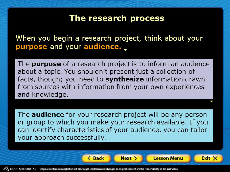 The research process An appropriate tone is also important to a research project.