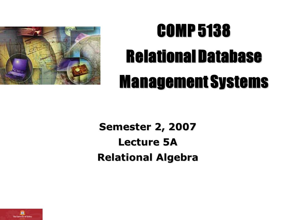 22 L3 Relational Data Model Overview There are many tasks that can be understood as calculating some relation by combining the information in one or more relation instances Relational algebra defines some operators that can be used to express a calculation like that A central insight: a query that extracts information can be seen as calculating a relation from the current state of the database