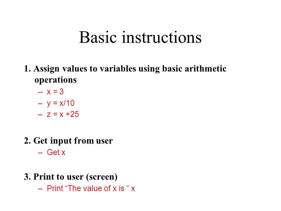 Basic instructions 1.