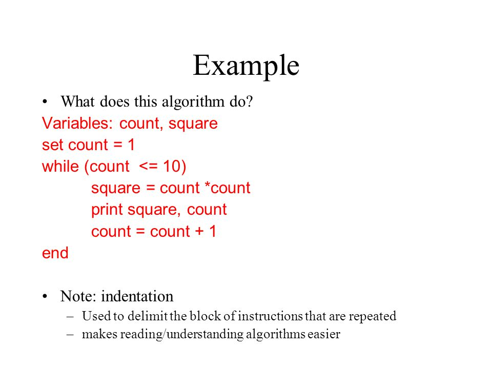Example What does this algorithm do.