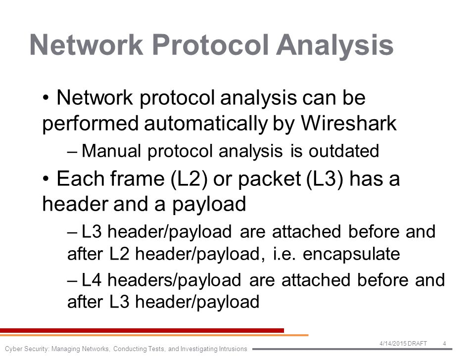 Network Protocol Analysis Network protocol analysis can be performed automatically by Wireshark –Manual protocol analysis is outdated Each frame (L2) or packet (L3) has a header and a payload –L3 header/payload are attached before and after L2 header/payload, i.e.