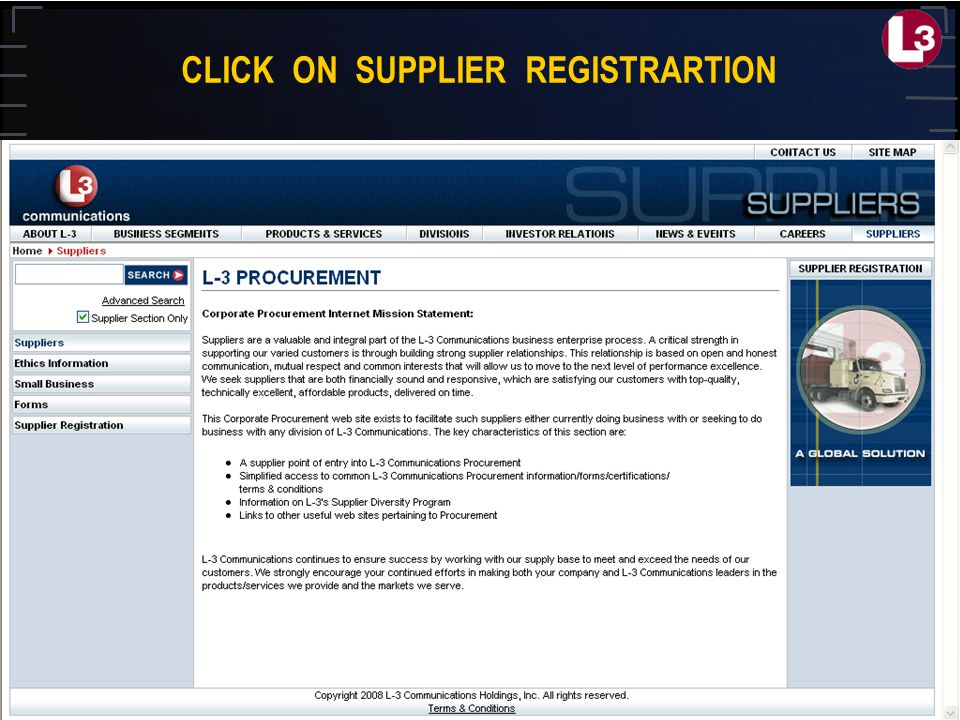 CLICK ON SUPPLIER REGISTRARTION