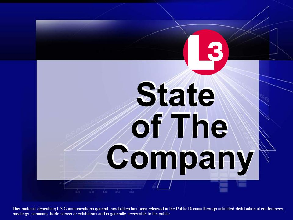 State of The Company State of The Company This material describing L-3 Communications general capabilities has been released in the Public Domain through unlimited distribution at conferences, meetings, seminars, trade shows or exhibitions and is generally accessible to the public.