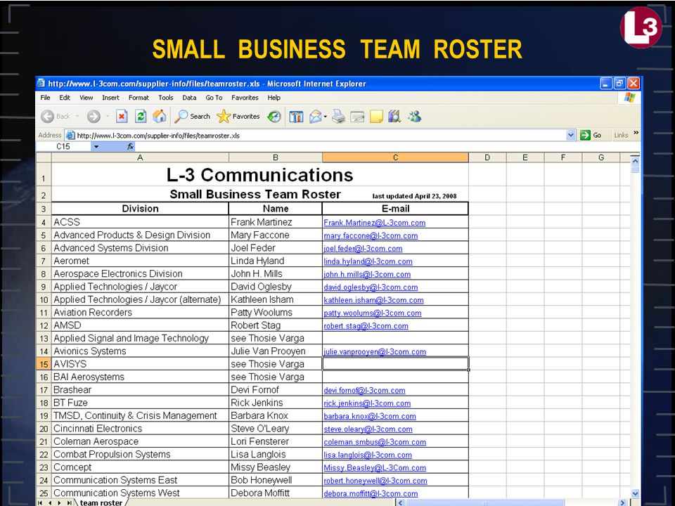 SMALL BUSINESS TEAM ROSTER