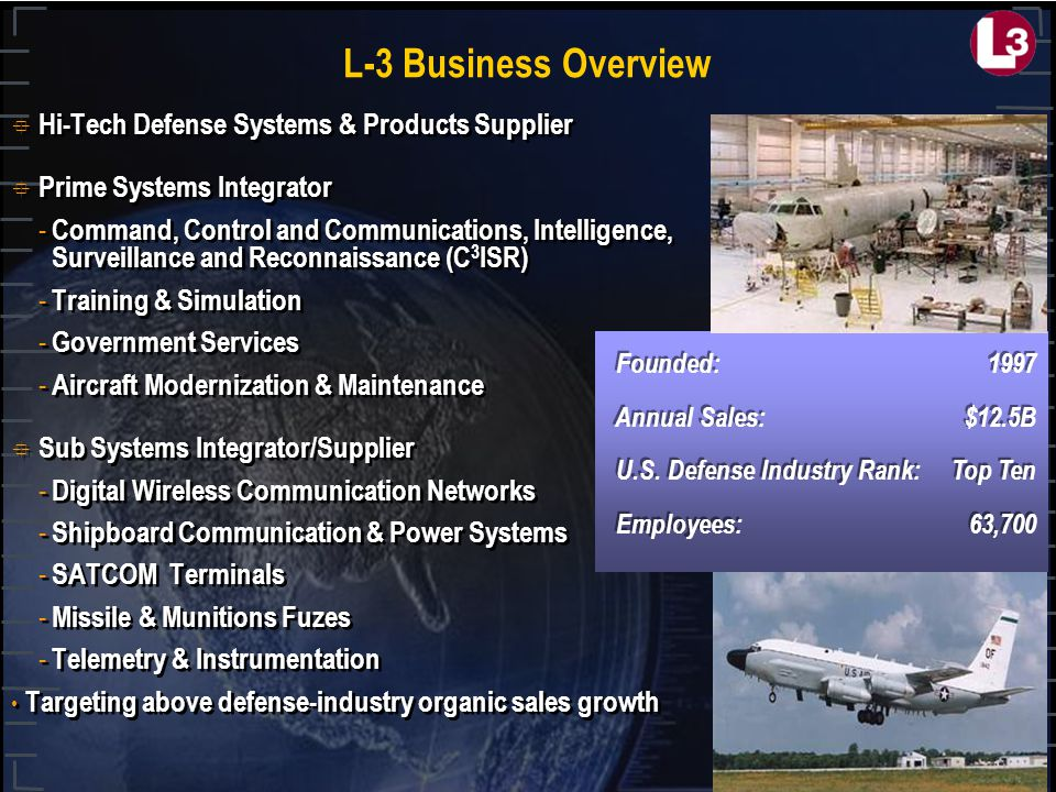 L-3 Business Overview  Hi-Tech Defense Systems & Products Supplier  Prime Systems Integrator - Command, Control and Communications, Intelligence, Surveillance and Reconnaissance (C 3 ISR) - Training & Simulation - Government Services - Aircraft Modernization & Maintenance  Sub Systems Integrator/Supplier - Digital Wireless Communication Networks - Shipboard Communication & Power Systems - SATCOM Terminals - Missile & Munitions Fuzes - Telemetry & Instrumentation Targeting above defense-industry organic sales growth  Hi-Tech Defense Systems & Products Supplier  Prime Systems Integrator - Command, Control and Communications, Intelligence, Surveillance and Reconnaissance (C 3 ISR) - Training & Simulation - Government Services - Aircraft Modernization & Maintenance  Sub Systems Integrator/Supplier - Digital Wireless Communication Networks - Shipboard Communication & Power Systems - SATCOM Terminals - Missile & Munitions Fuzes - Telemetry & Instrumentation Targeting above defense-industry organic sales growth Founded:1997 Annual Sales:$12.5B U.S.
