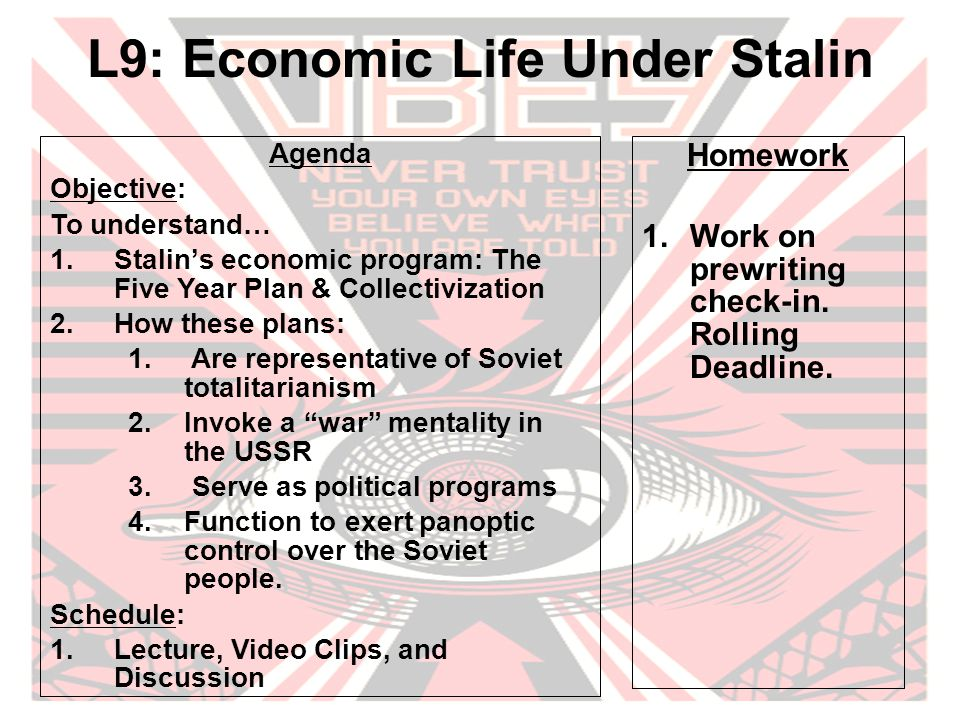 Guiding Questions Where do you see characteristics of totalitarianism in Stalin's regime.