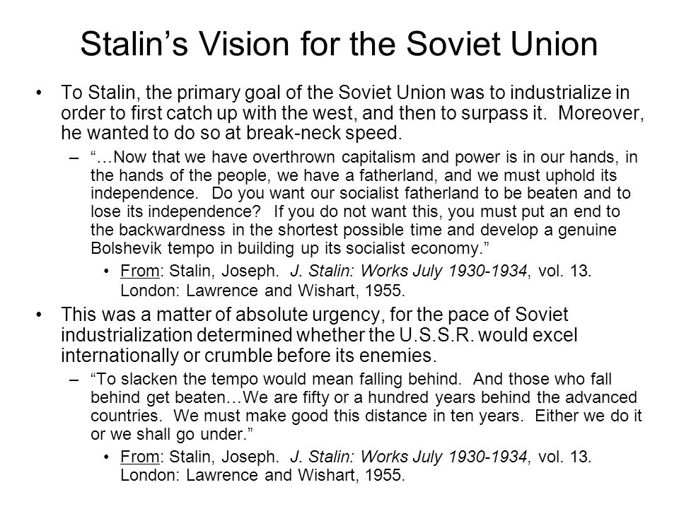 Stalin's Economic Program Two Components: –Industrial Revolution The Five Year Plan –The First Five Year Plan (1928-1932) –The Second Five Year Plan (1933-1937) –The Third Five Year Plan (1938-1941) –Agricultural Revolution Collectivization of Farms