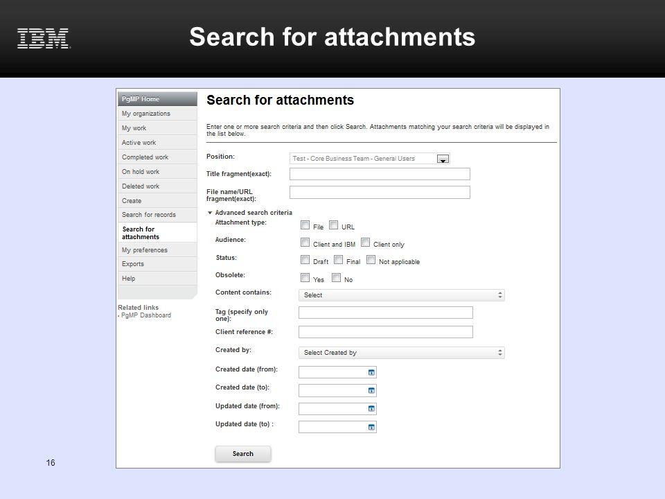 16 Search for attachments