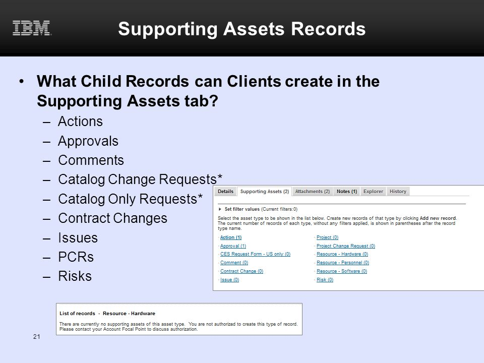 Supporting Assets Records What Child Records can Clients create in the Supporting Assets tab? –Actions –Approvals –Comments –Catalog Change Requests*