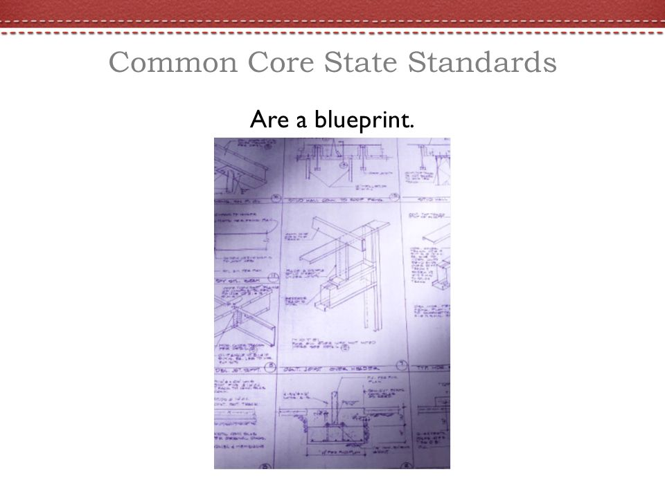 Common Core State Standards Are a blueprint.