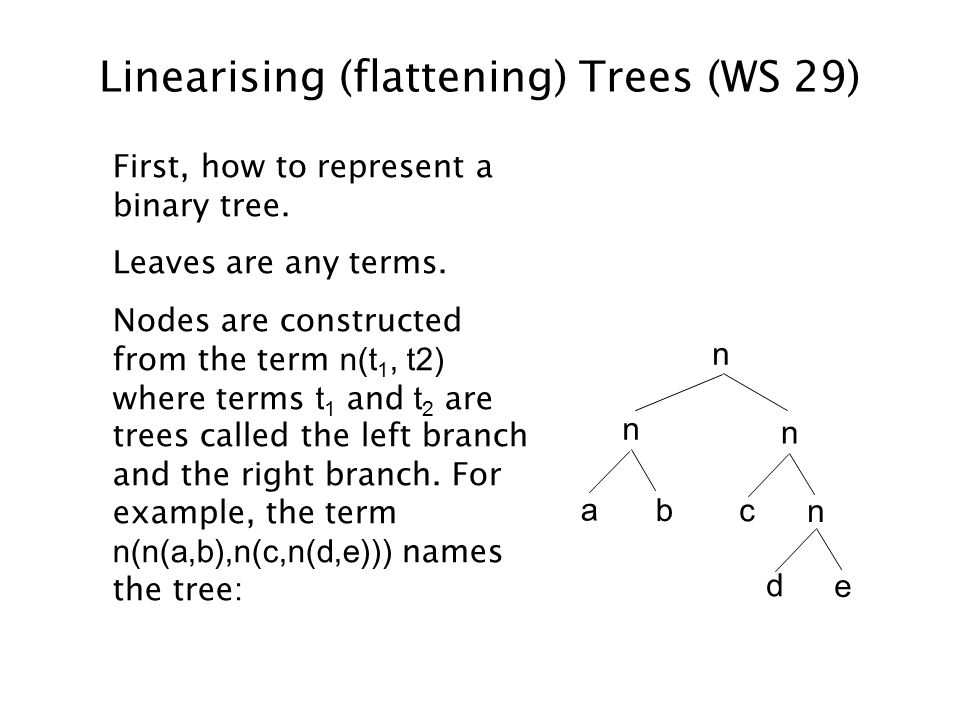 Linearising (flattening) Trees (WS 29) First, how to represent a binary tree.