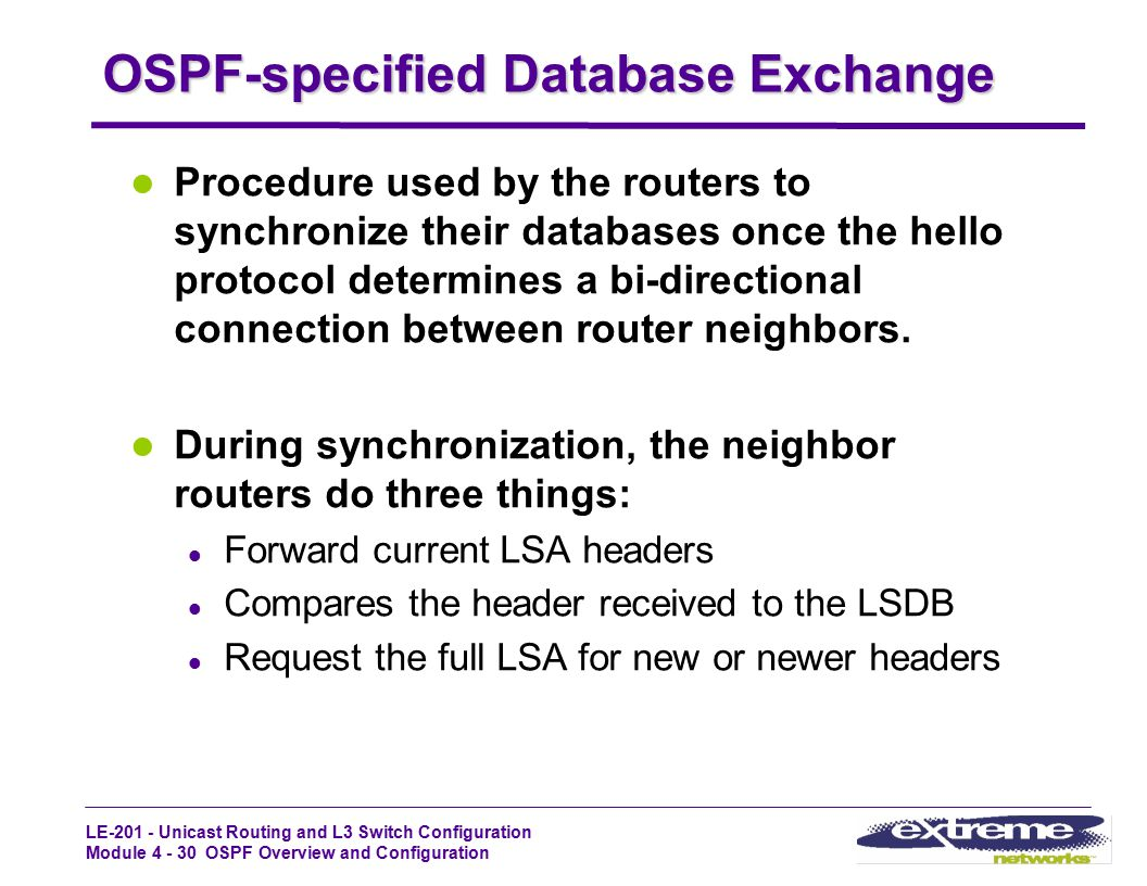 LE-201 - Unicast Routing and L3 Switch Configuration Module 4 - 30 OSPF Overview and Configuration OSPF-specified Database Exchange Procedure used by