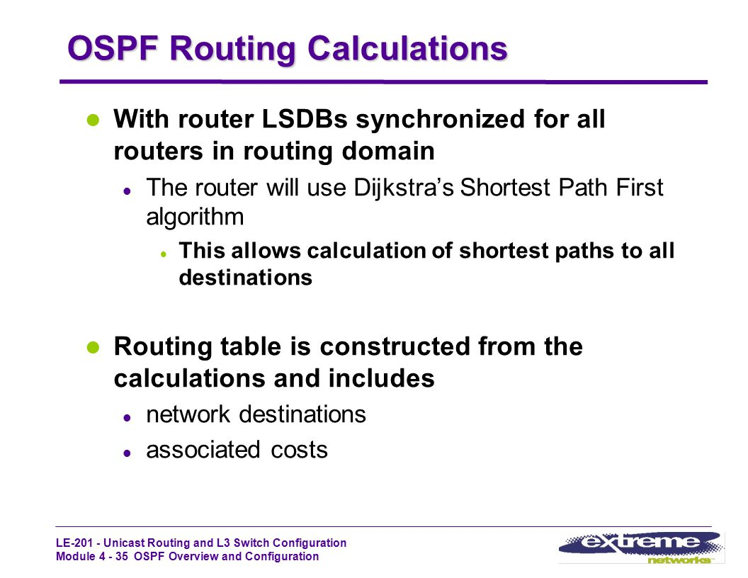 LE-201 - Unicast Routing and L3 Switch Configuration Module 4 - 35 OSPF Overview and Configuration OSPF Routing Calculations With router LSDBs synchro