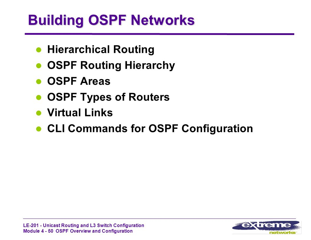 LE-201 - Unicast Routing and L3 Switch Configuration Module 4 - 50 OSPF Overview and Configuration Building OSPF Networks Hierarchical Routing OSPF Ro