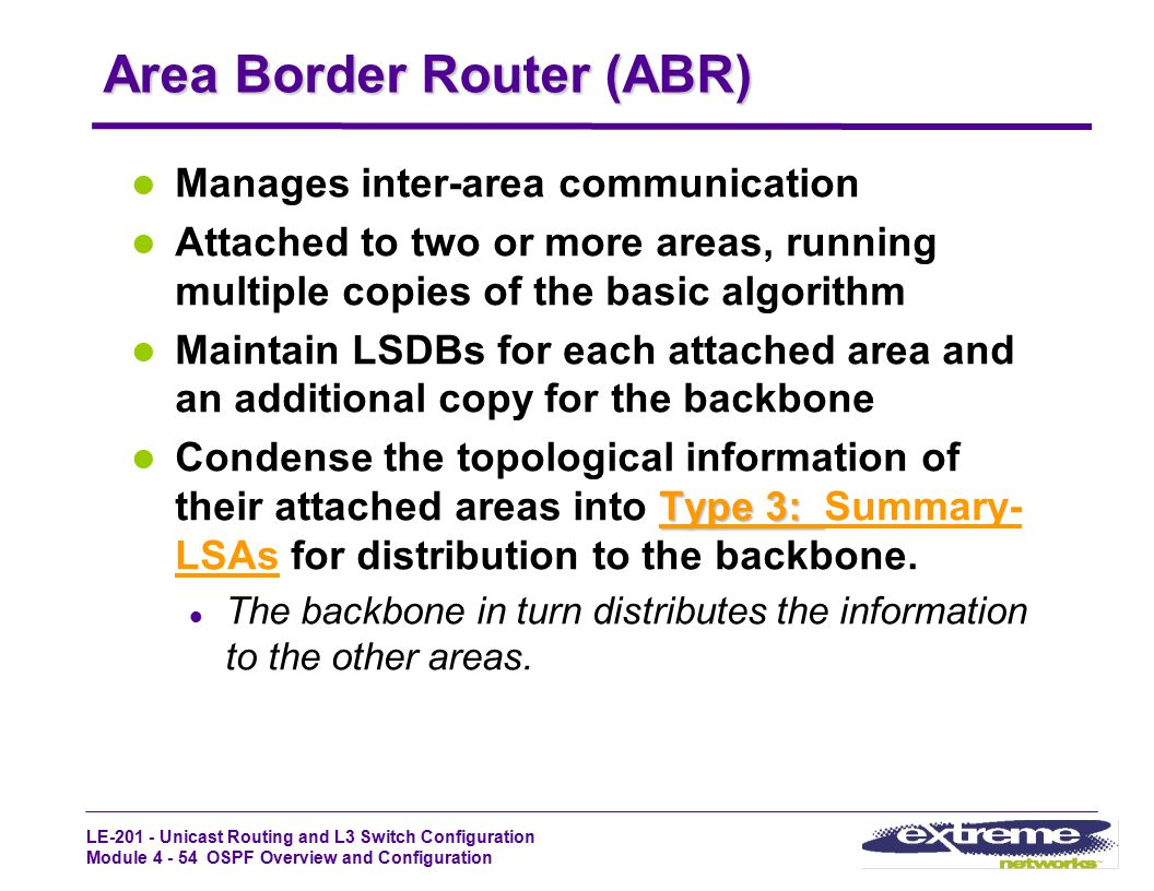 LE-201 - Unicast Routing and L3 Switch Configuration Module 4 - 54 OSPF Overview and Configuration Area Border Router (ABR) Manages inter-area communi
