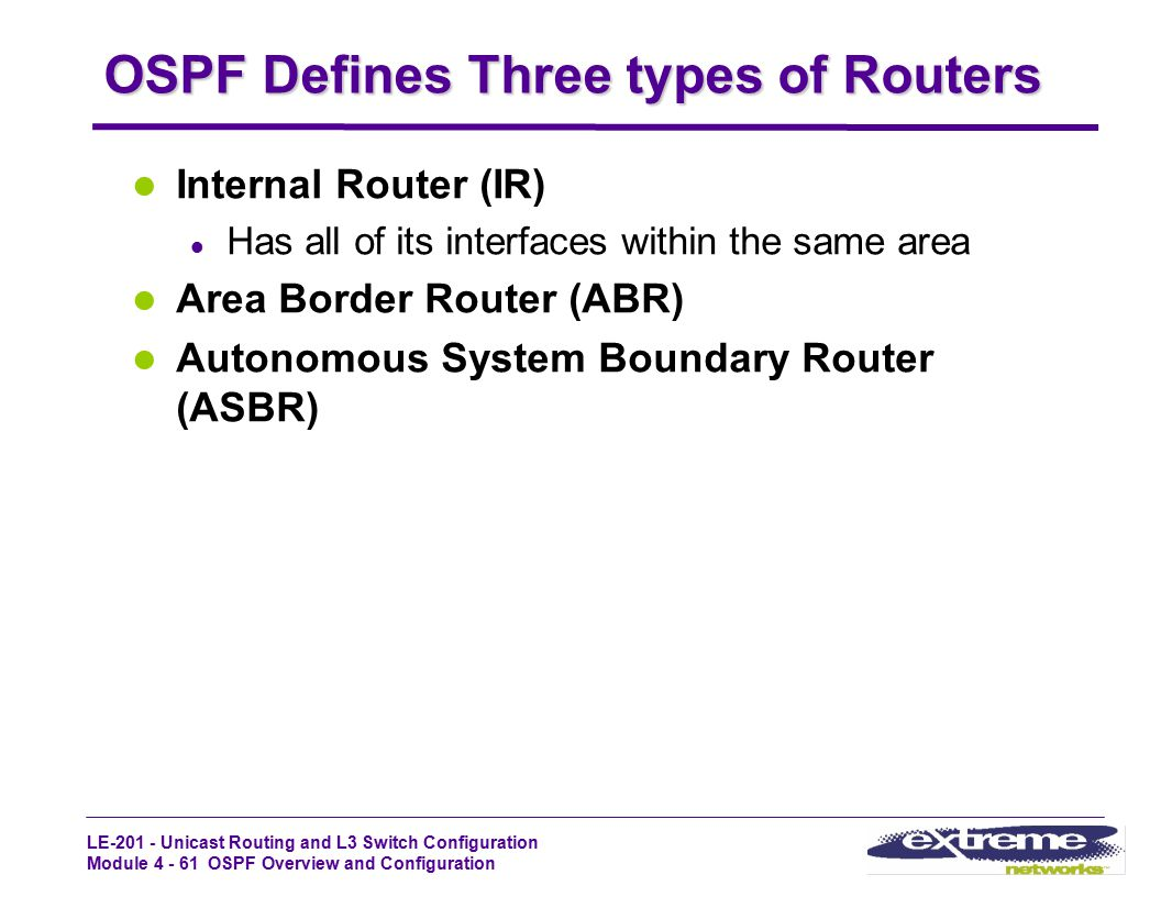LE-201 - Unicast Routing and L3 Switch Configuration Module 4 - 61 OSPF Overview and Configuration OSPF Defines Three types of Routers Internal Router