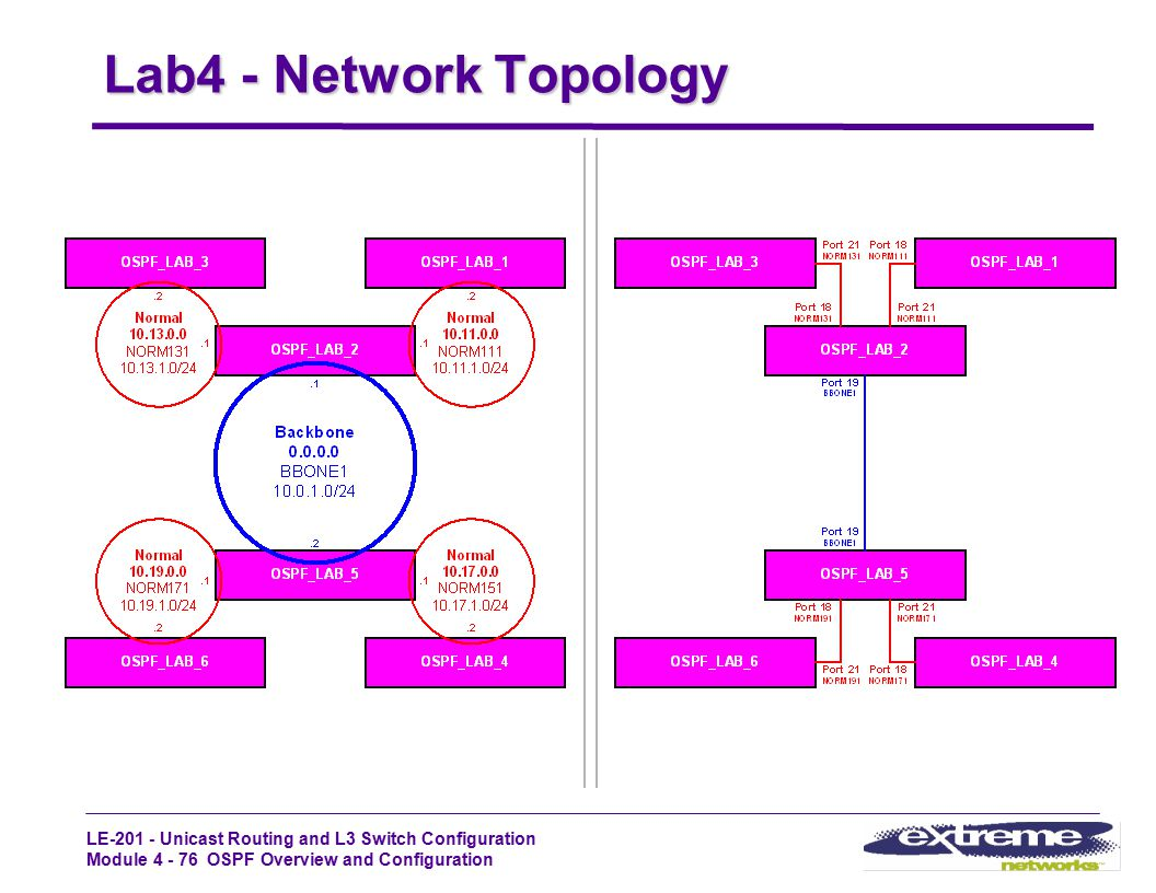 LE-201 - Unicast Routing and L3 Switch Configuration Module 4 - 76 OSPF Overview and Configuration Lab4 - Network Topology