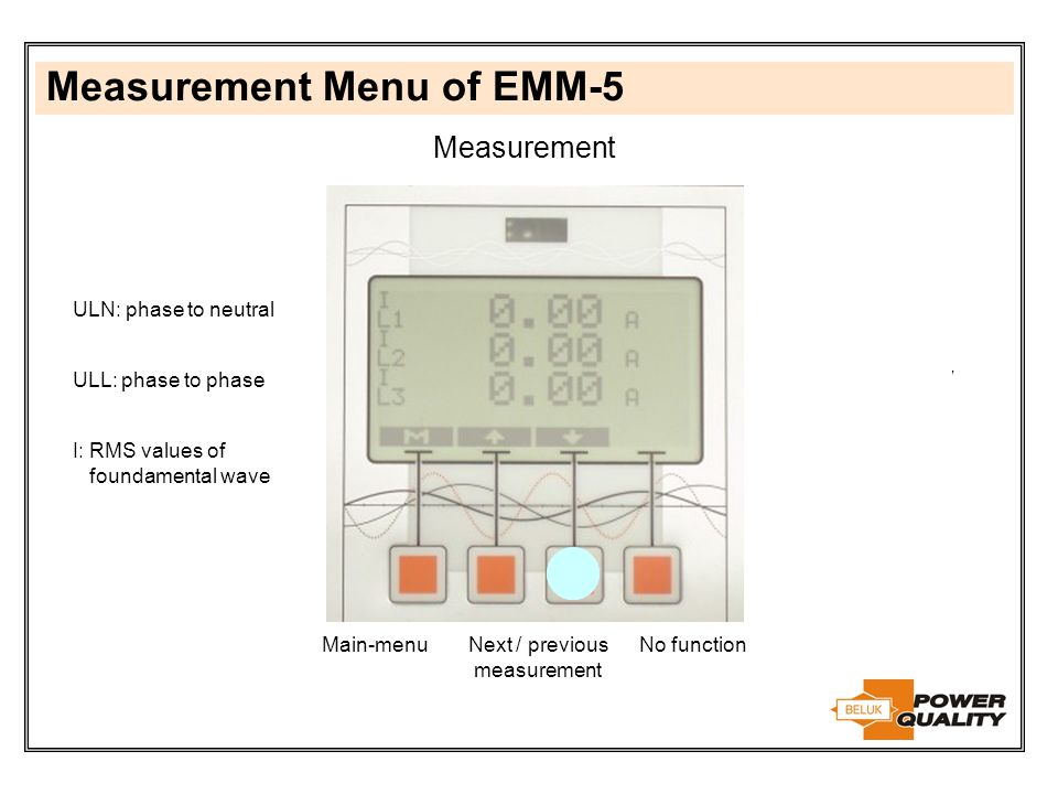 Measurement Menu of EMM-5 Measurement Next / previous measurement Main-menuNo function ULN: phase to neutral Unit is changing between V and kV ULL: ph