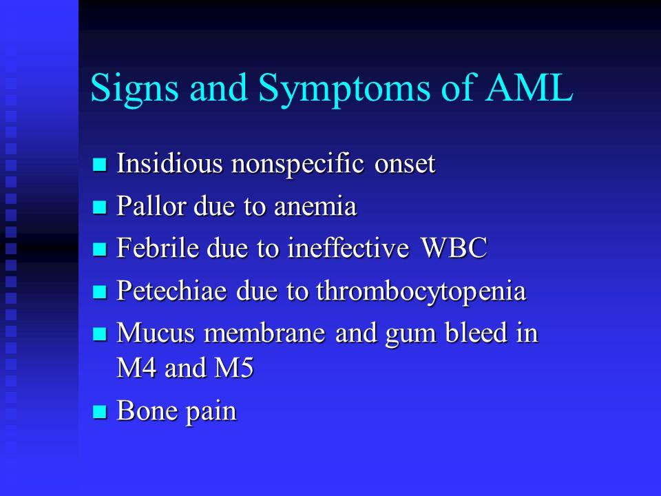 Typical Labs of AML Leukocytosis Leukocytosis Blastemia Blastemia Leukemic hiatus Leukemic hiatus Auer rods in M2, M3, M4 Auer rods in M2, M3, M4 Thrombocytopenia Thrombocytopenia Anemia Anemia >20% blasts in BM >20% blasts in BM