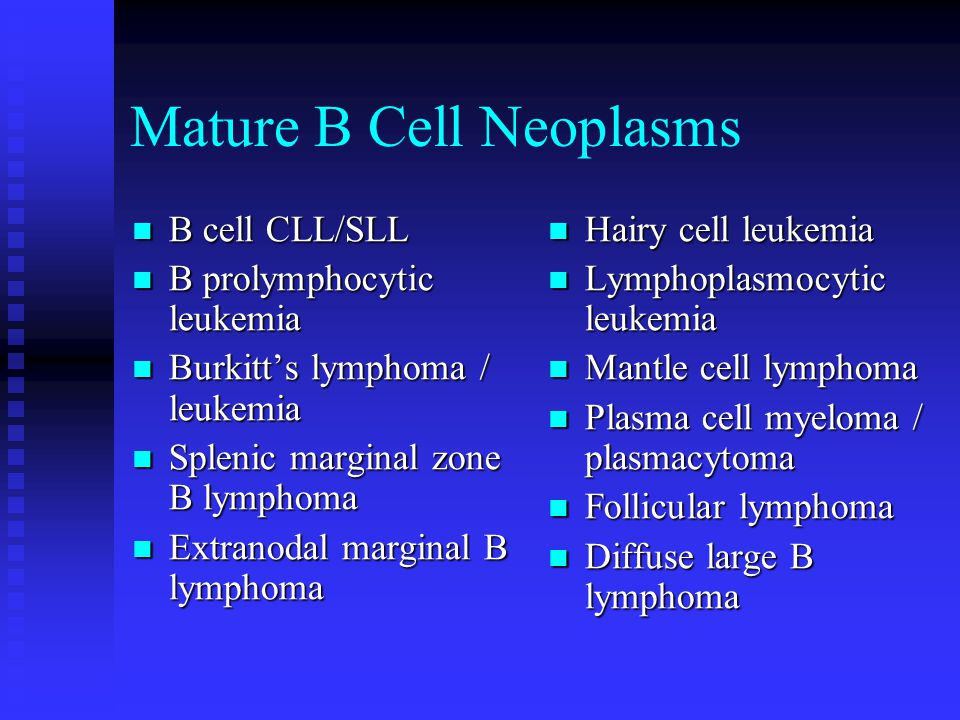 T/NK Cell Neoplasms T prolymphocytic leukemia T prolymphocytic leukemia T granular lymphocytic leukemia T granular lymphocytic leukemia Aggressive NK cell leukemia Aggressive NK cell leukemia Adult T lymphoma / leukemia Adult T lymphoma / leukemia Mycosis fungoides (Sezary syndrome) Anaplastic large cell lymphoma Hepatosplenic T lymphoma Peripheral T lymphoma Immunoblastic T lymphoma