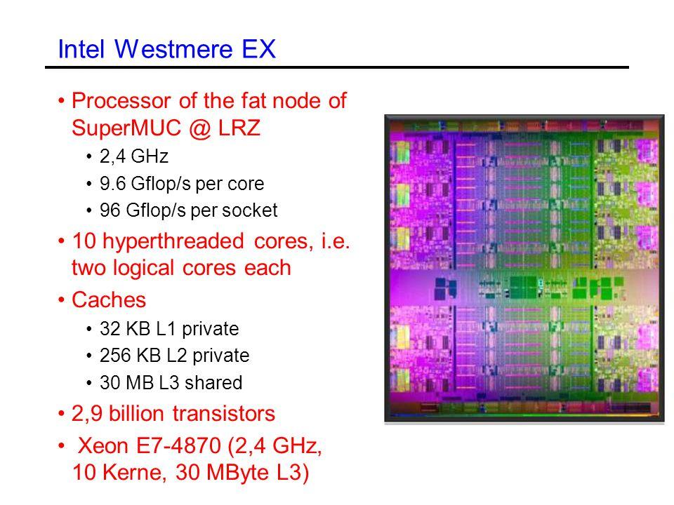 Intel Westmere EX Processor of the fat node of SuperMUC @ LRZ 2,4 GHz 9.6 Gflop/s per core 96 Gflop/s per socket 10 hyperthreaded cores, i.e.