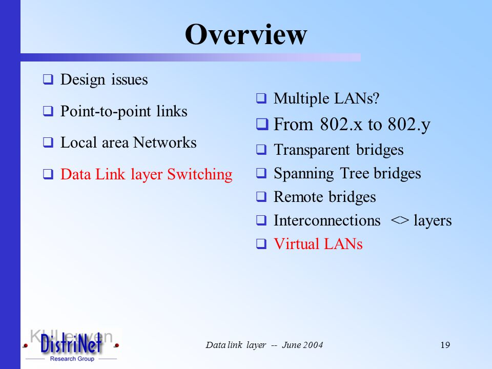 Data link layer -- June 200419 Overview  Design issues  Point-to-point links  Local area Networks  Data Link layer Switching  Multiple LANs.