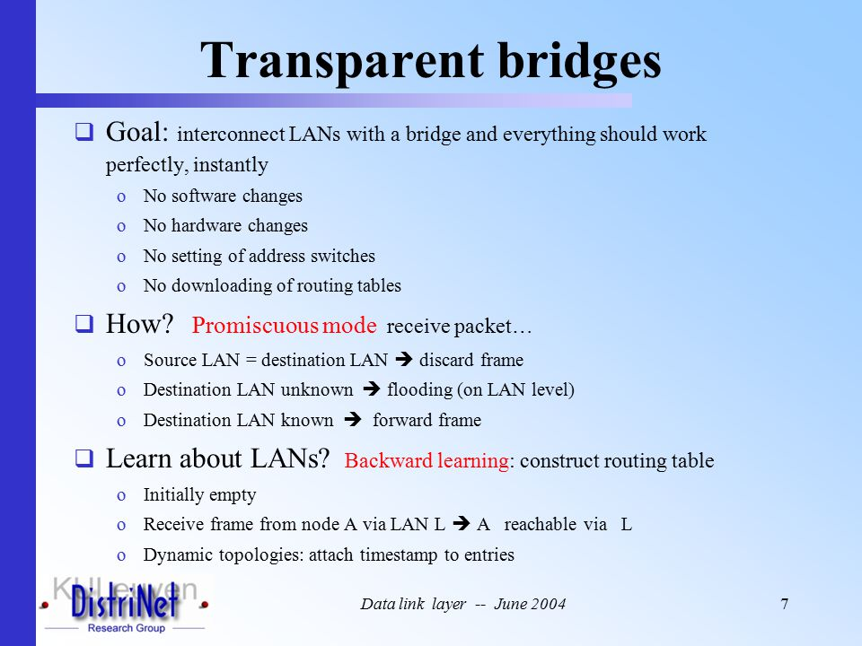 Data link layer -- June 20047 Transparent bridges  Goal: interconnect LANs with a bridge and everything should work perfectly, instantly oNo software changes oNo hardware changes oNo setting of address switches oNo downloading of routing tables  How.
