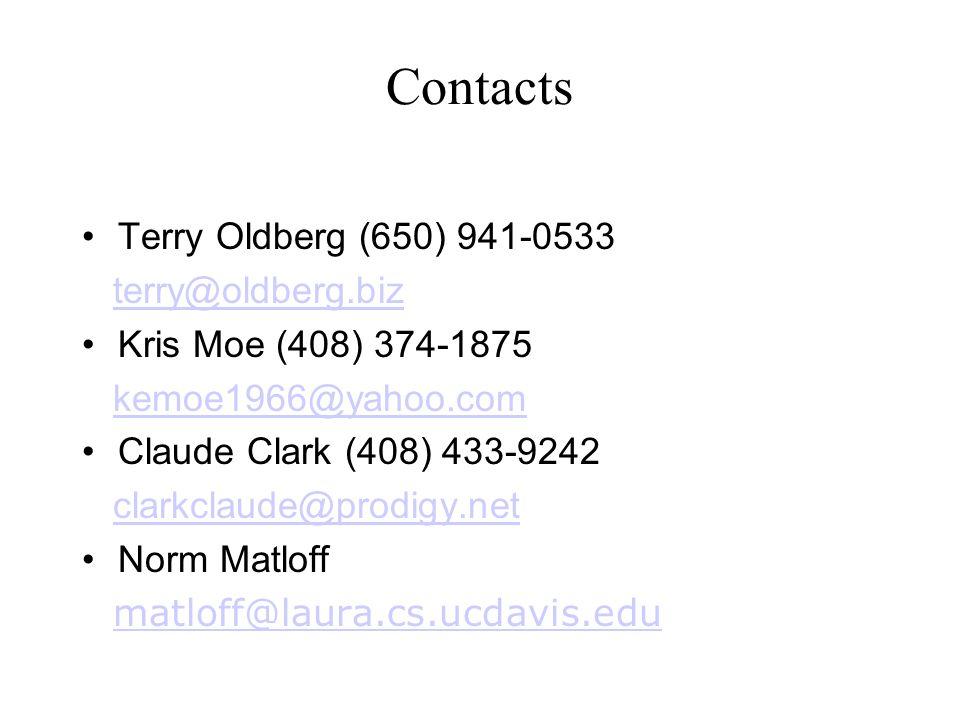 Contacts Terry Oldberg (650) 941-0533 terry@oldberg.biz Kris Moe (408) 374-1875 kemoe1966@yahoo.com Claude Clark (408) 433-9242 clarkclaude@prodigy.ne