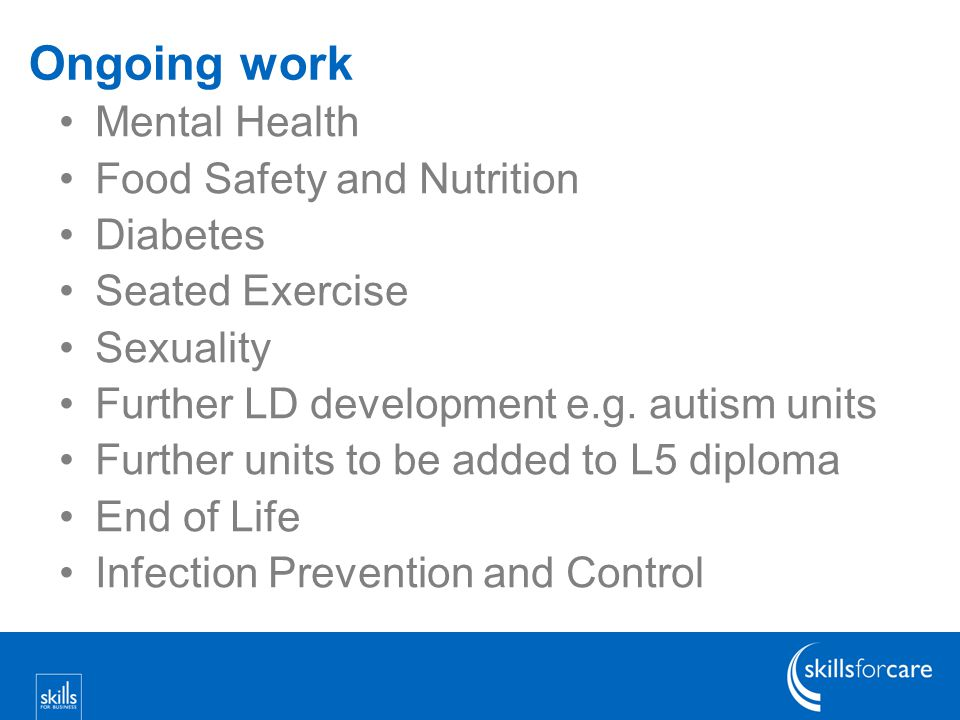 Ongoing work Mental Health Food Safety and Nutrition Diabetes Seated Exercise Sexuality Further LD development e.g.