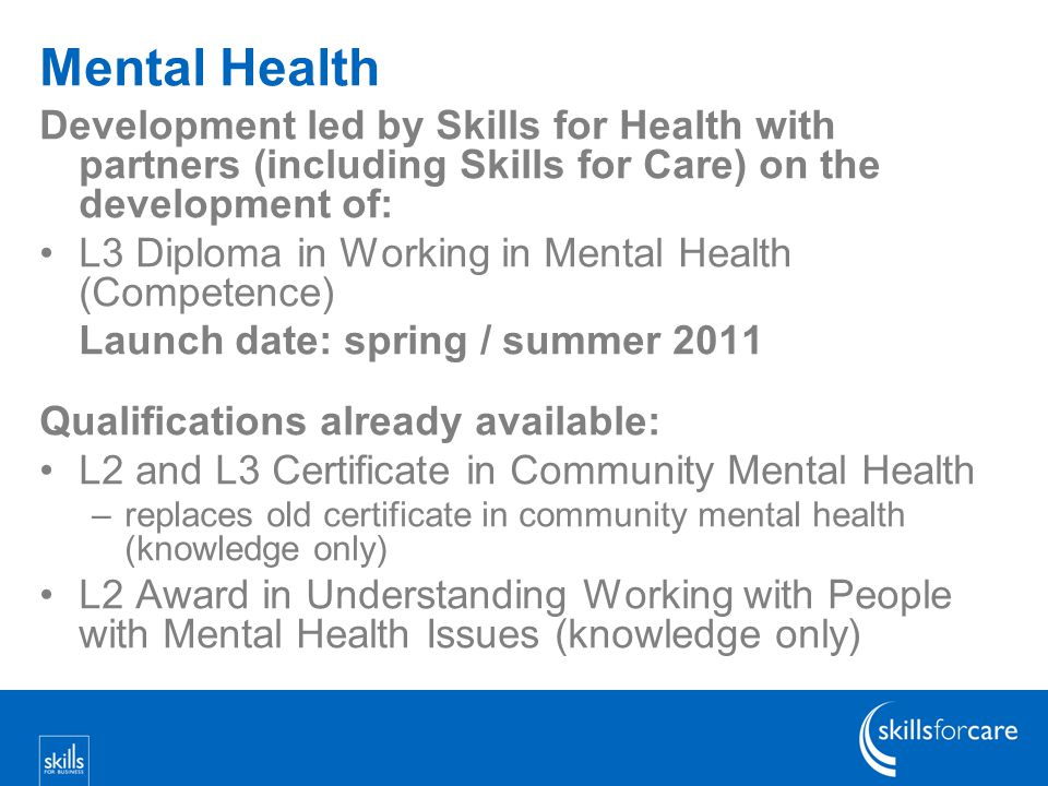 Mental Health Development led by Skills for Health with partners (including Skills for Care) on the development of: L3 Diploma in Working in Mental Health (Competence) Launch date: spring / summer 2011 Qualifications already available: L2 and L3 Certificate in Community Mental Health –replaces old certificate in community mental health (knowledge only) L2 Award in Understanding Working with People with Mental Health Issues (knowledge only)