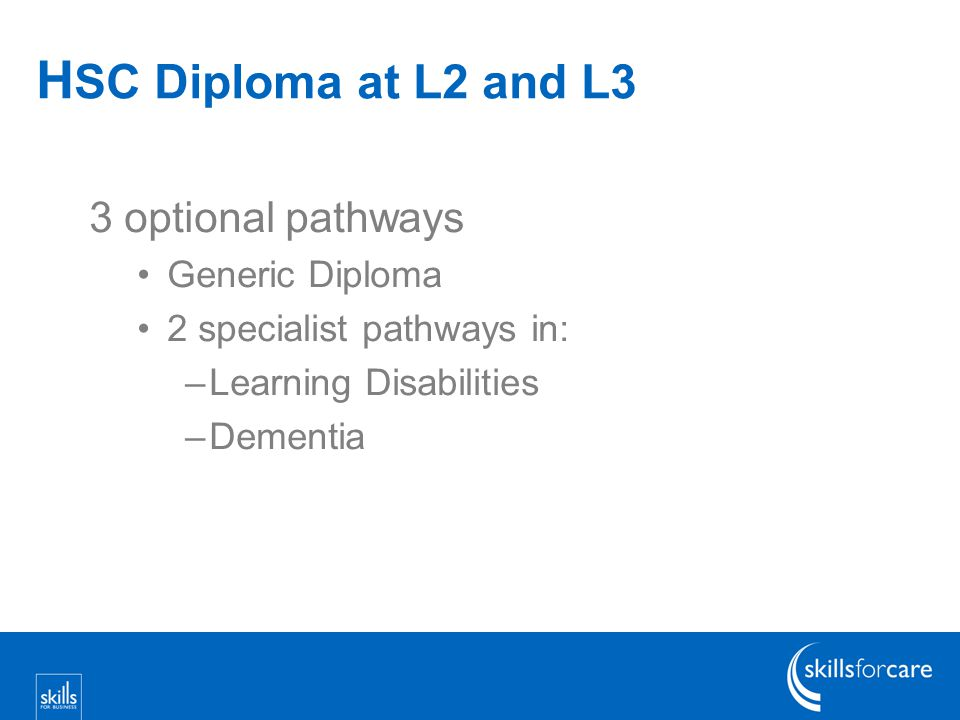 H SC Diploma at L2 and L3 3 optional pathways Generic Diploma 2 specialist pathways in: –Learning Disabilities –Dementia