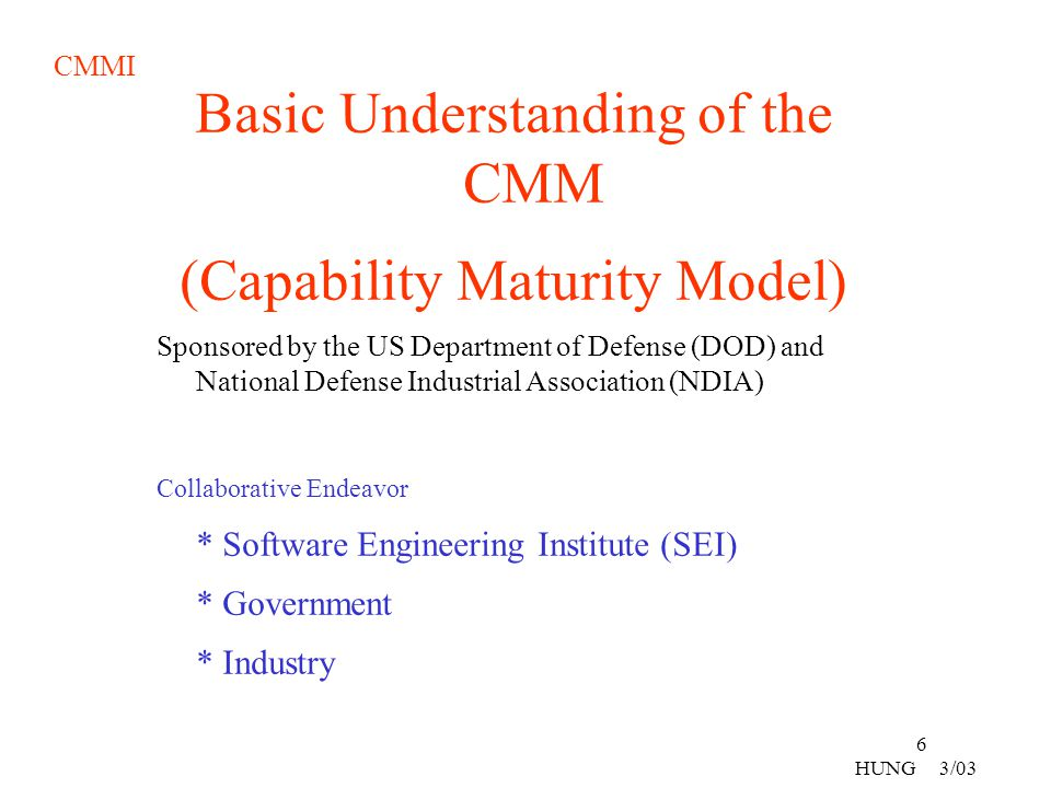 CMMI 27 HUNG 3/03 Taiwan's System Life Cycle Processes Characteristics Planning System Req System Design Implementation System Integration System Deployment TAIWAN USA