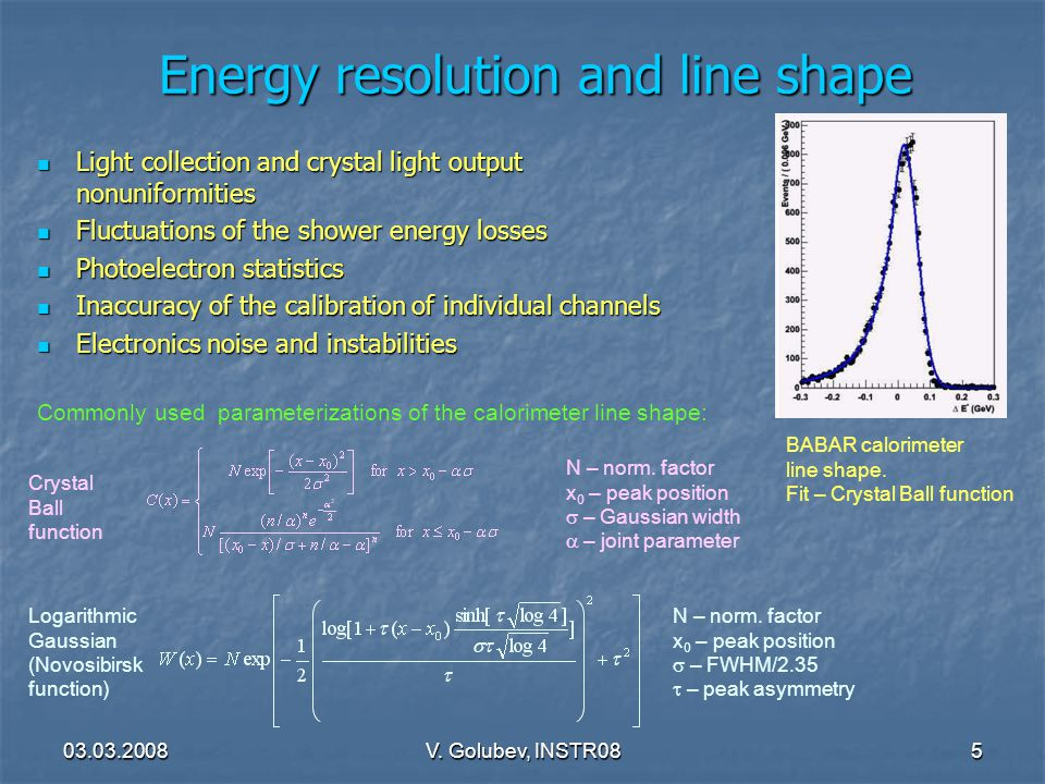 03.03.2008V. Golubev, INSTR085 Energy resolution and line shape Light collection and crystal light output nonuniformities Light collection and crystal