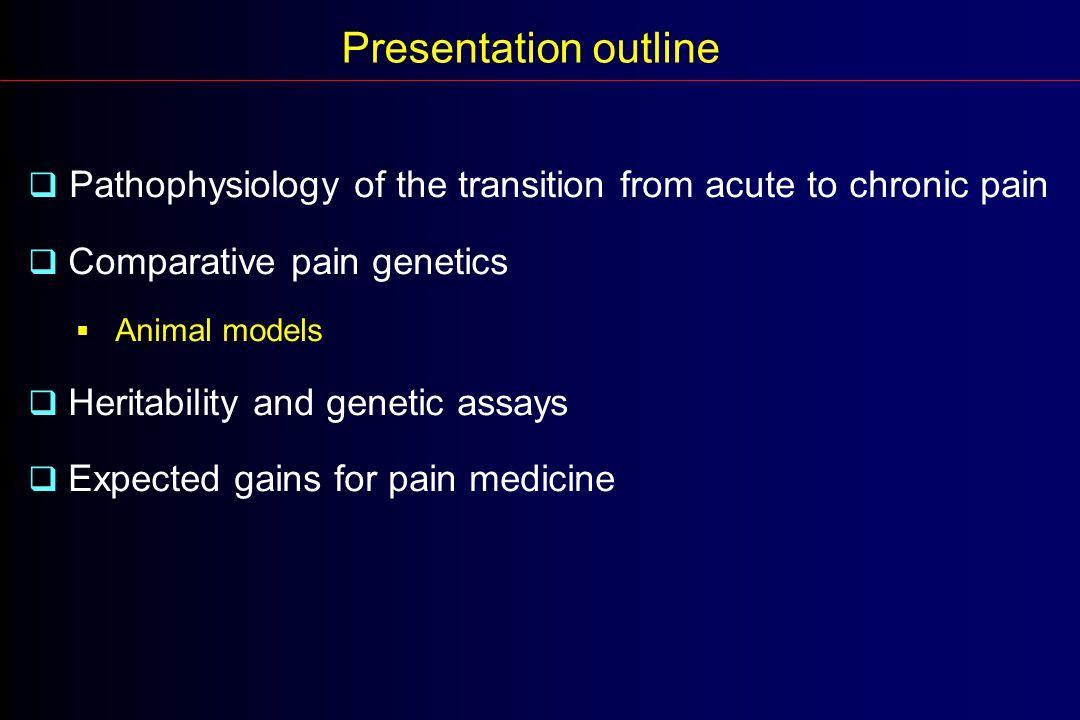 Mogil et al (1999) Spontaneous pain (self-mutilation) Neuropathic pain score % Hyperalgesic mice % Allodynic mice Acute pain - Tactile allodynia - Heat hyperalgesia - Spontaneous pain MICE