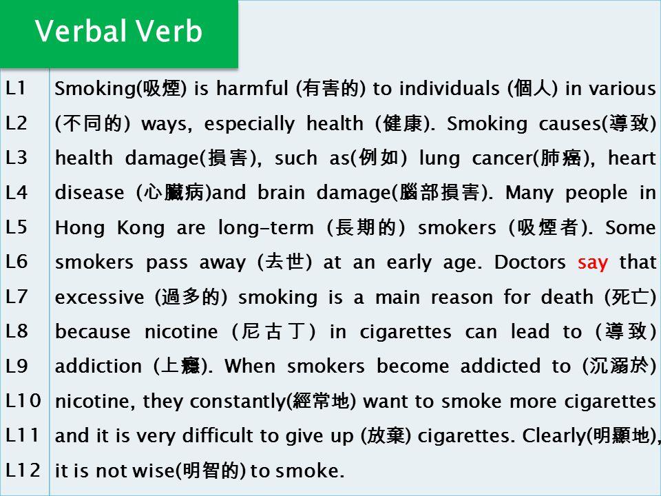 L1 L2 L3 L4 L5 L6 L7 L8 L9 L10 L11 L12 Smoking( 吸煙 ) is harmful ( 有害的 ) to individuals ( 個人 ) in various ( 不同的 ) ways, especially health ( 健康 ).