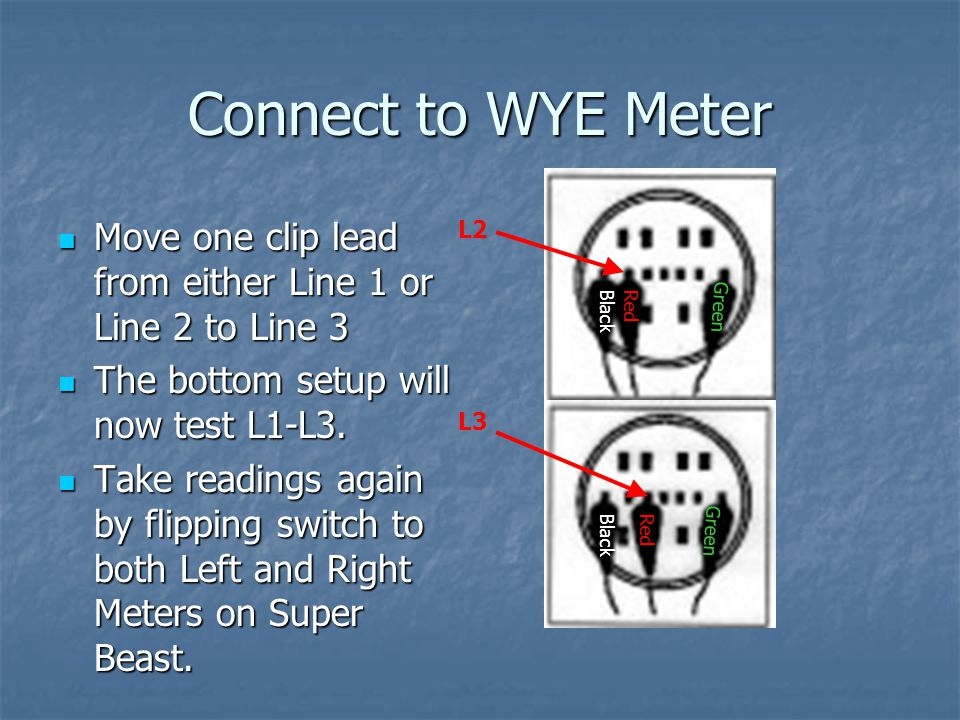 Connect to WYE Meter A final test will determine the L2-L3 power quality by moving the black cable from Line 1 to Line 2.
